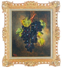 a bunch of hanging purple grapes (+ a companion painting of a bunch of hanging green grapes; pair) by william h. smith