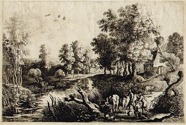 bauern mit ihren kühen in der nähe eines baches after peter paul rubens by lucas van uden