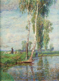 hirtin am ufer by wilhelm georg ritter