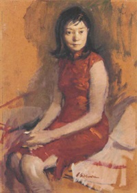 portrait of a woman in a red dress by burt silverman