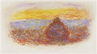 meule, soleil couchant by claude monet