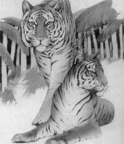 two tigers in bamboo grove by william h rapp
