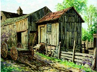barn scene with wagon by winfield scott clime