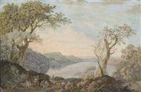 joueurs de musique sur un chemin près d'un lac by olivier le may