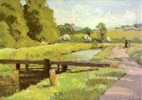figures strolling along canal path by frederick w. hull