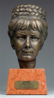 kaiserin elisabeth von österreich, porträtkopf der kaiserin by franz santifaller