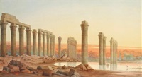 egyptian ruins at sunset by william cossens way