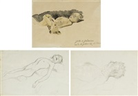 two children sleeping (+ 2 others; 3 works) by justo de gandarias
