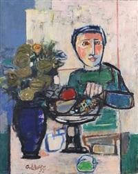 personnage au vase fleuri by georges goldkorn