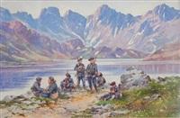 chasseurs alpins - la halte près du lac by bernard rambaud