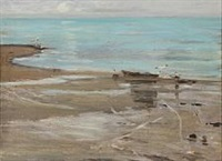 beach scene with seagulls by carl ludvig thilson locher
