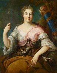 porträt einer dame als jagdgöttin diana by jean-martial fredou