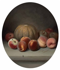 still life with melon by peter baumgras