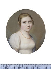 a lady, called fanny mercier née uginet (c.1796-1828), wearing white dress, blue shawl draped about her shoulders by louis ami arlaud-jurine