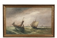 competing trawlers in a green sea by william matthew hale