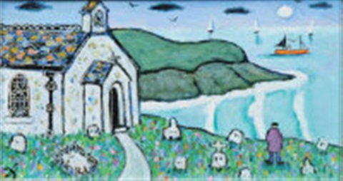 chapel by porthmeor beach st ives by joan gillchrest