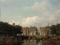 the harbor of rotterdam in summer by jan weissenbruch