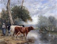 vaches au bord de la rivière près d'orbec by adrien gabriel voisard-margerie