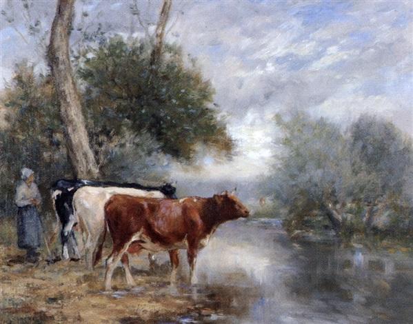 vaches au bord de la rivière près dorbec by adrien gabriel voisard margerie