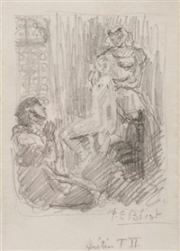 les ragionamenti - l'arétin (4 preparatory sketches) by paul-emile becat