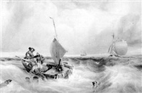 smugglers sinking their cargo at the approach of a revenue cutter by samuel austin