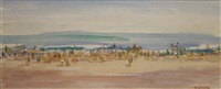 beach scene with figures and horses by gladys maccabe