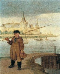 river landscape, a fisherman by a bridge, slot muiden beyond by arent (cabel) arentsz