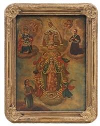 coronación de la virgen de guadalupe (rodeada por la santísima trinidad, san miguel arcángel, san cayetano y juan diego) by mexican school (20)