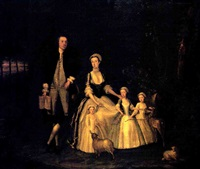a group portrait of baptist noel, 4th earl of gainsborough, and his family by hennessy