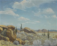 cactus in a desert landscape by clyde eugene scott