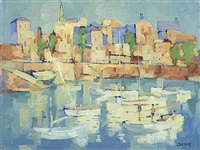 moored boats by desmond carrick