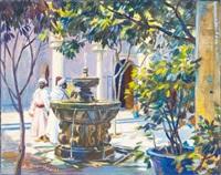 fontaine dans le patio, maroc by louis john endres