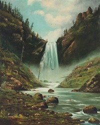 yellowstone cascade; yellowstone geyser (pair) by american school (19)