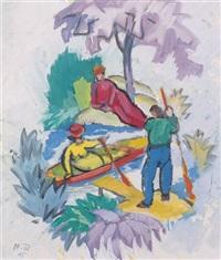 geliebte im boot by otto fischer-trachau