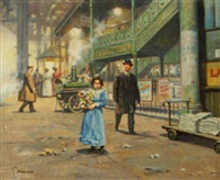 the flower girl in a railway station by seevey lester