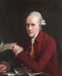 portrait of a gentleman, half-length, in a crimson coat with a gold waistcoat, seated at a desk, holding a letter by john francis rigaud