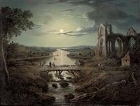 a moonlit view of the river tweed with melrose abbey in the foreground and figures on a bridge by abraham pether