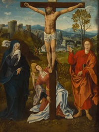 crucifixión by master of the antwerp adoration
