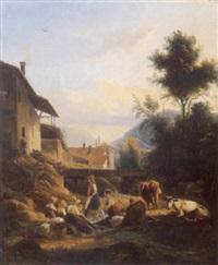 blanchisseuse près d'un ruisseau au pied d'un paysage montagnard by isidore dagnan