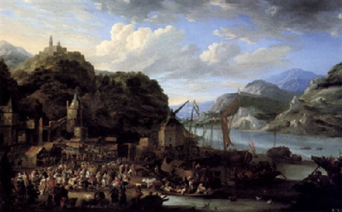 a mountainous river landscape with a crowded market scene a castle on top of a hill beyond by jan peeters the elder