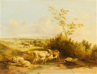 cattle and sheep by stream by edmund bristow