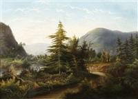 hudson river landscape with mountains by herman fuechsel
