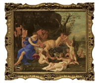 a bacchanal with two fauns looking at drunken silenus, with putti cavorting by karel philips spierincks