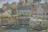 a scottish harbor (kirkcaldy?) (+ sunshine and shade on buildings, verso) by madge macbrayne