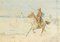 men on horseback and oxen in the roman campagna by johan thomas lundbye
