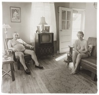 retired man and his wife at home in a nudist camp one morning, n.j by diane arbus