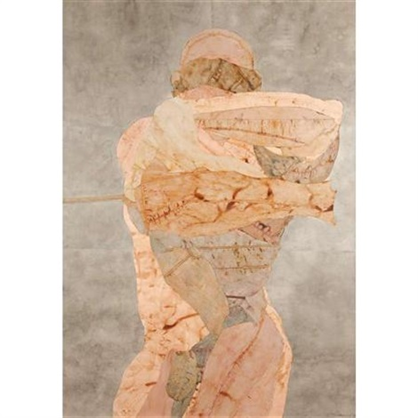tethered figure with rising arms by nancy grossman