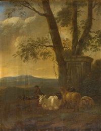 ziegenhirte in einer hügeligen landschaft by jacob van der does the elder