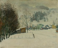 paysage (brouillard) by arnold borisovich lakhovsky