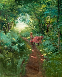 girls in a leafy forest by alexander rapp